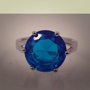 Huge blue topaz ring